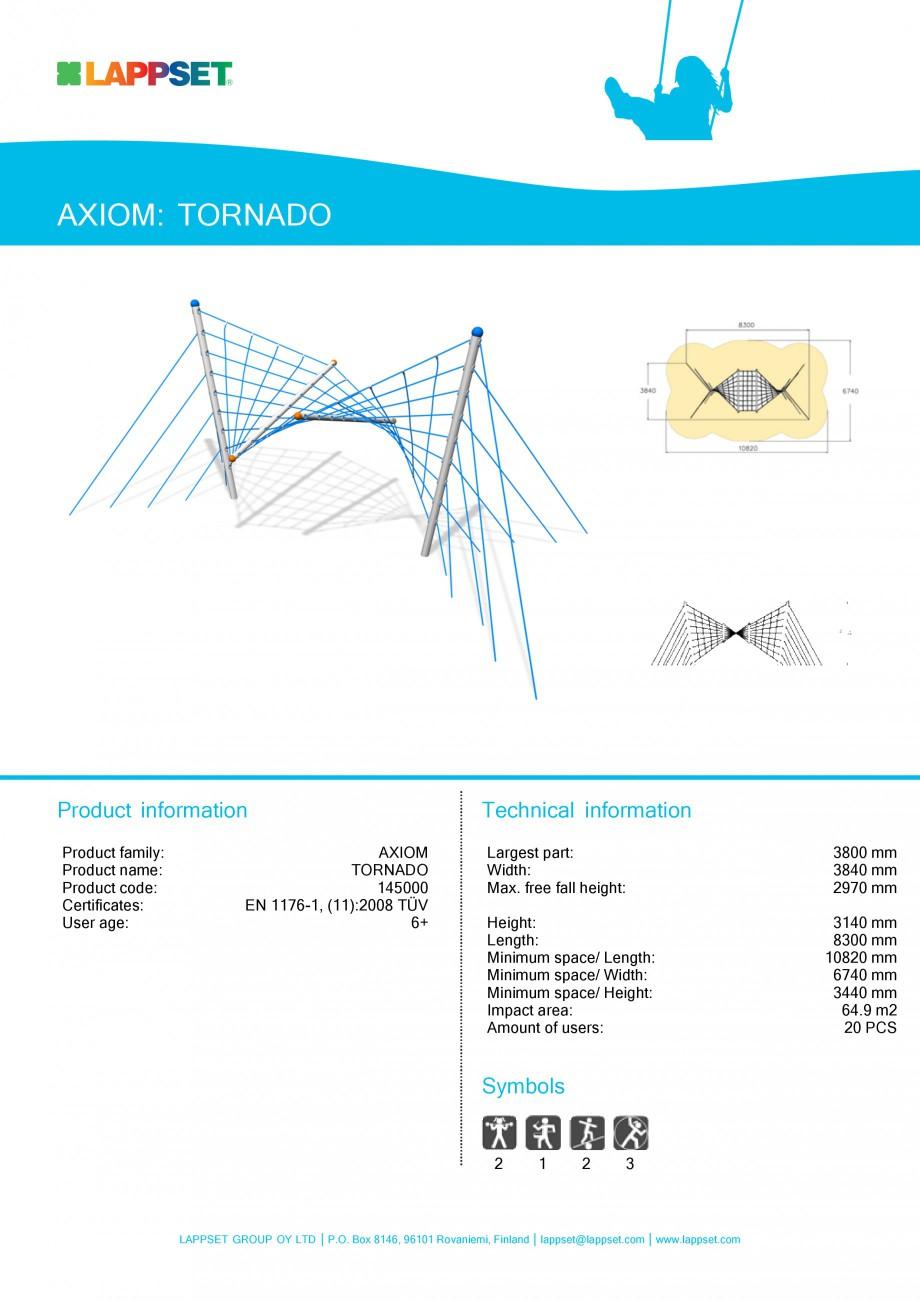 Pagina 1 - Echipament de joaca pentru copii - TORNADO 145000 LAPPSET Fisa tehnica Engleza AXIOM:...