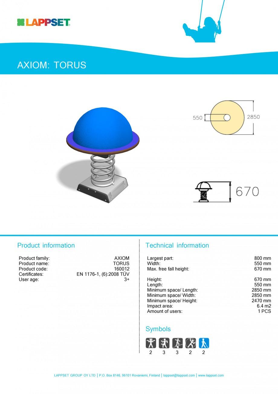 Pagina 1 - Echipament de joaca pentru copii - TORUS 160012 LAPPSET Fisa tehnica Engleza AXIOM: TORUS...