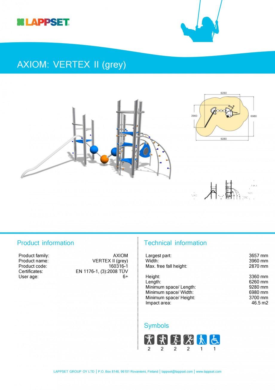 Pagina 1 - Echipament de joaca pentru copii - VERTEX II 160316 LAPPSET Fisa tehnica Engleza AXIOM:...