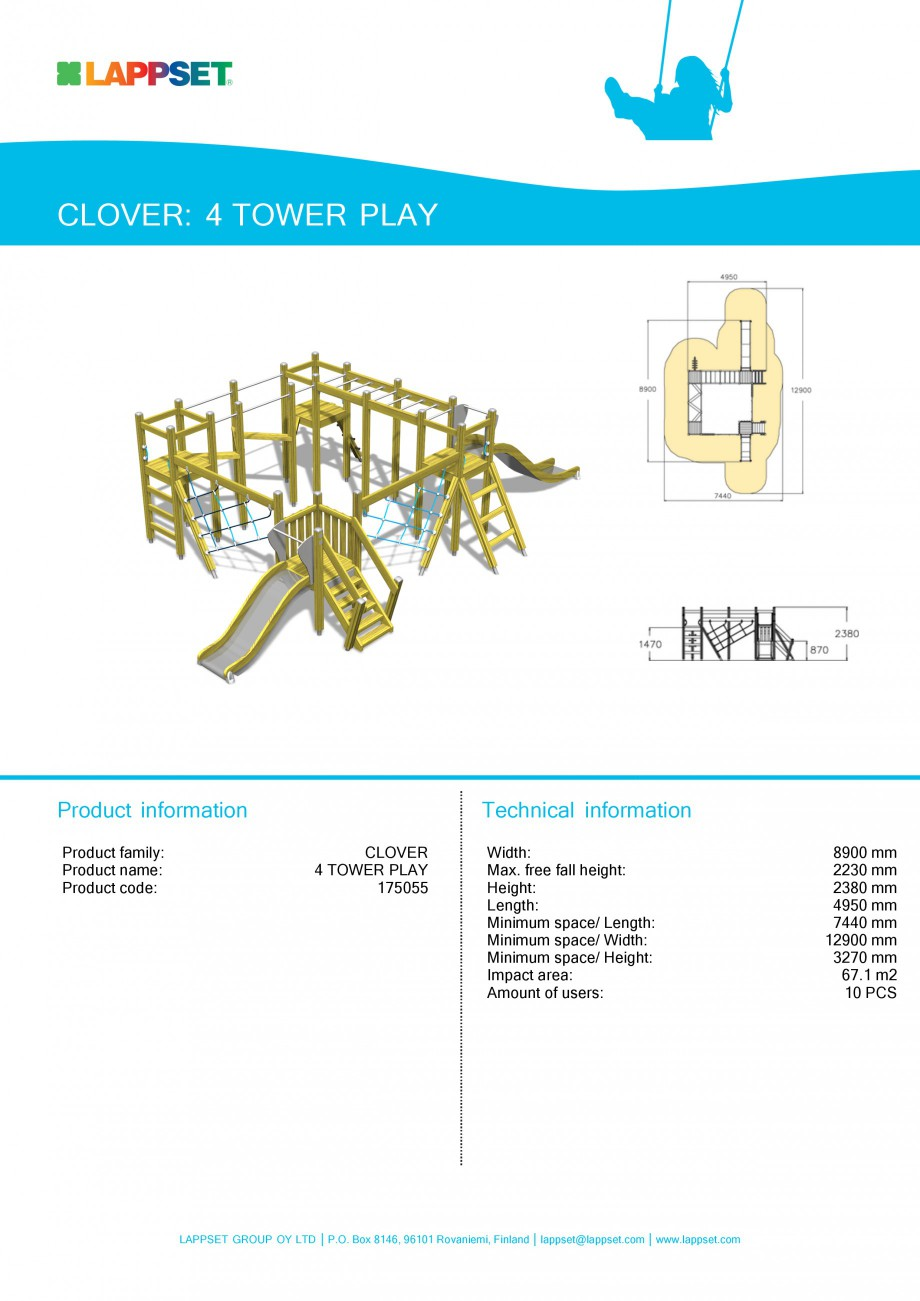 Pagina 1 - Echipament de joaca pentru copii - 4 TOWER PLAY 175055 LAPPSET CLOVER Fisa tehnica...