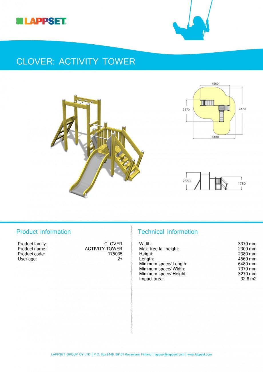 Pagina 1 - Echipament de joaca pentru copii - ACTIVITY TOWER 175035 LAPPSET CLOVER Fisa tehnica...