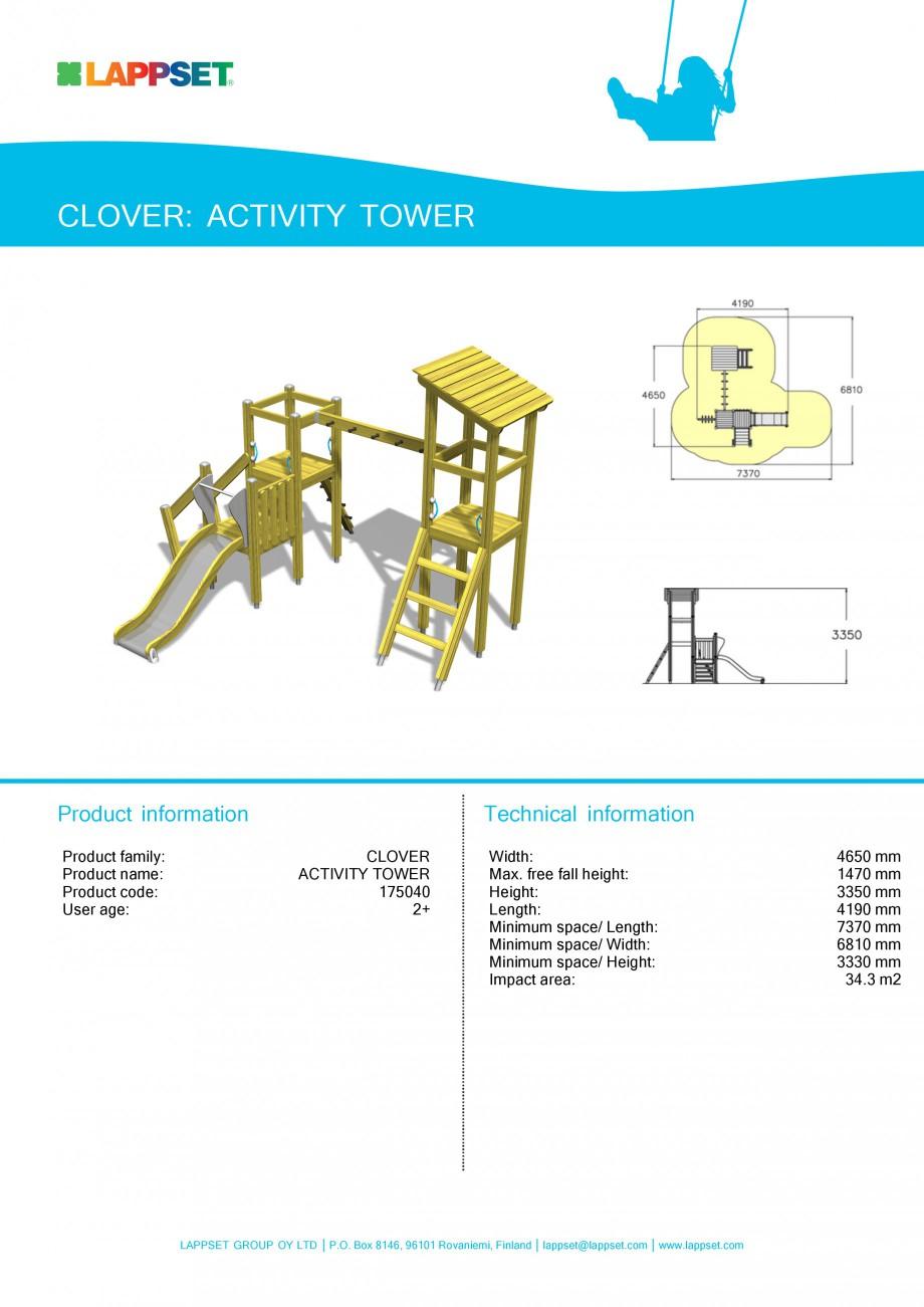Pagina 1 - Echipament de joaca pentru copii - ACTIVITY TOWER 175040 LAPPSET CLOVER Fisa tehnica...