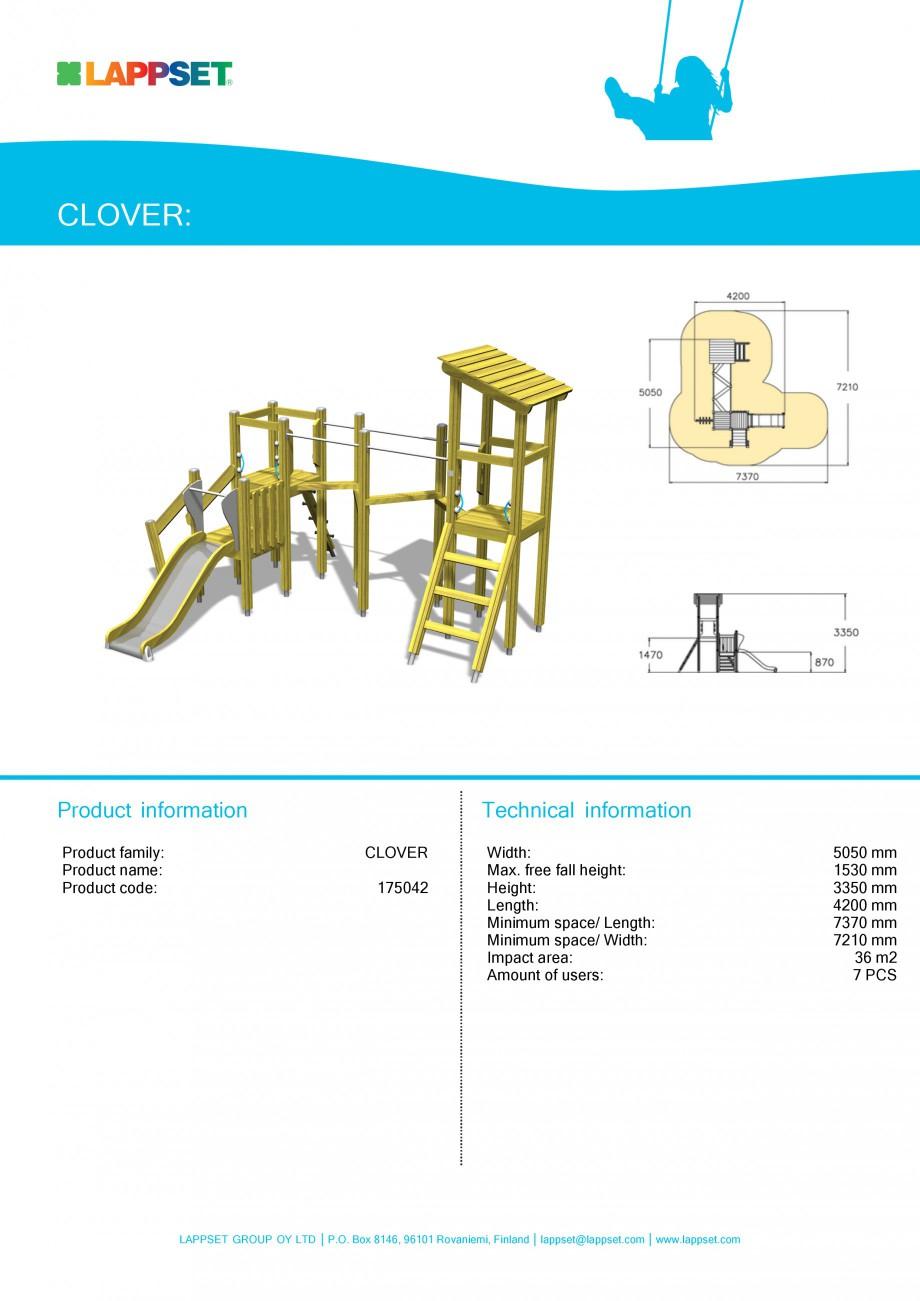Pagina 1 - Echipament de joaca pentru copii - ACTIVITY TOWER 175042 LAPPSET CLOVER Fisa tehnica...