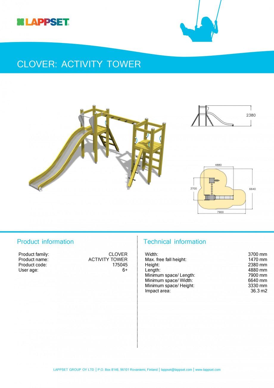 Pagina 1 - Echipament de joaca pentru copii - ACTIVITY TOWER 175045 LAPPSET CLOVER Fisa tehnica...