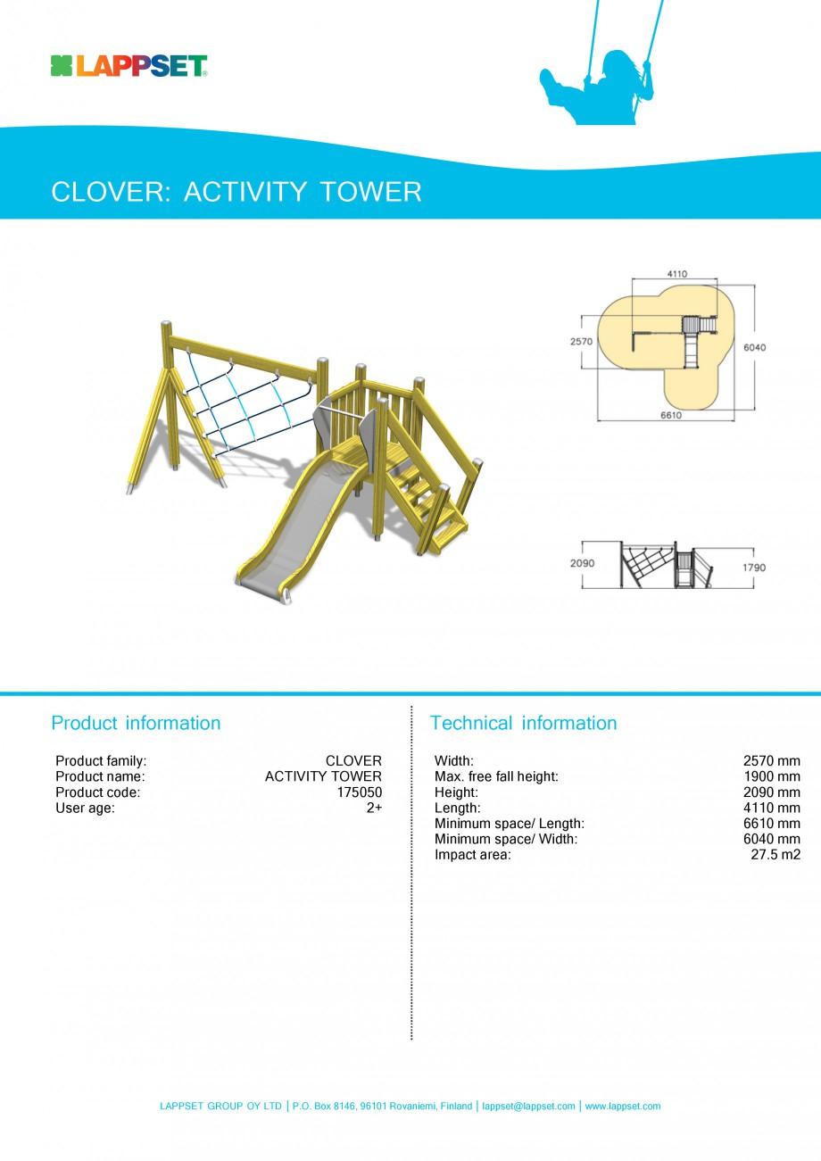 Pagina 1 - Echipament de joaca pentru copii - ACTIVITY TOWER 175050 LAPPSET CLOVER Fisa tehnica...