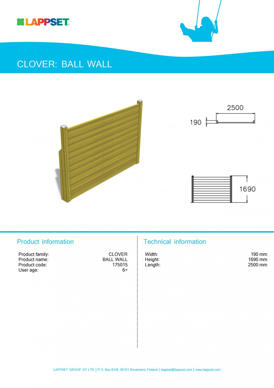 Pagina 1 - Echipament de joaca pentru copii - BALL WALL 175015 LAPPSET CLOVER Fisa tehnica Engleza...
