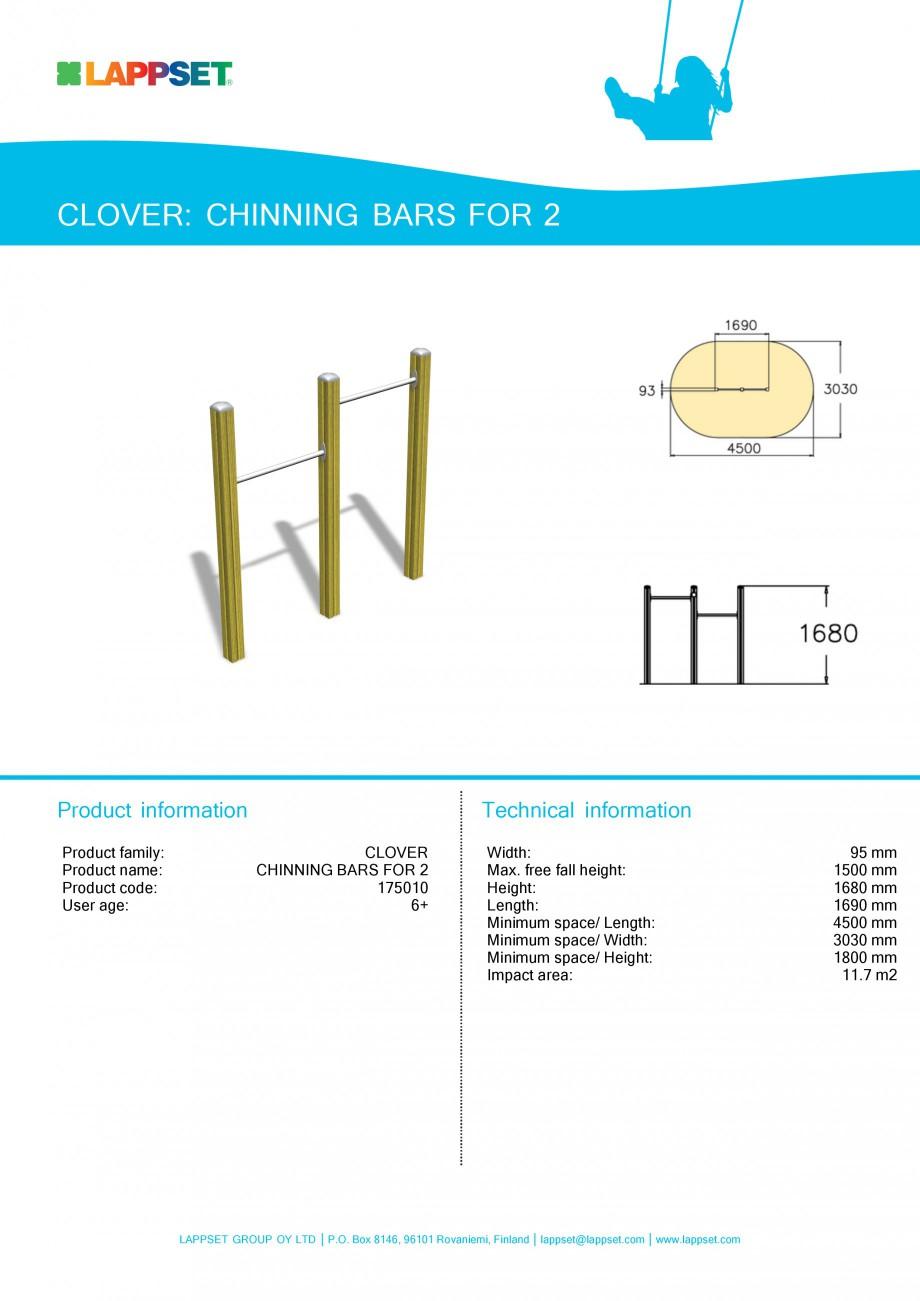 Pagina 1 - Echipament de joaca pentru copii - CHINNING BARS FOR 2 175010 LAPPSET CLOVER Fisa tehnica...