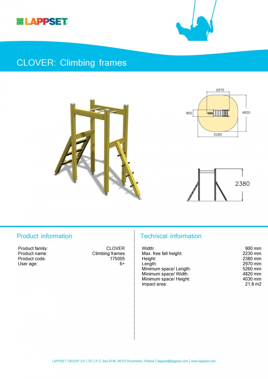 Pagina 1 - Echipament de joaca pentru copii - CLIMBING FRAMES 175005 LAPPSET CLOVER Fisa tehnica...