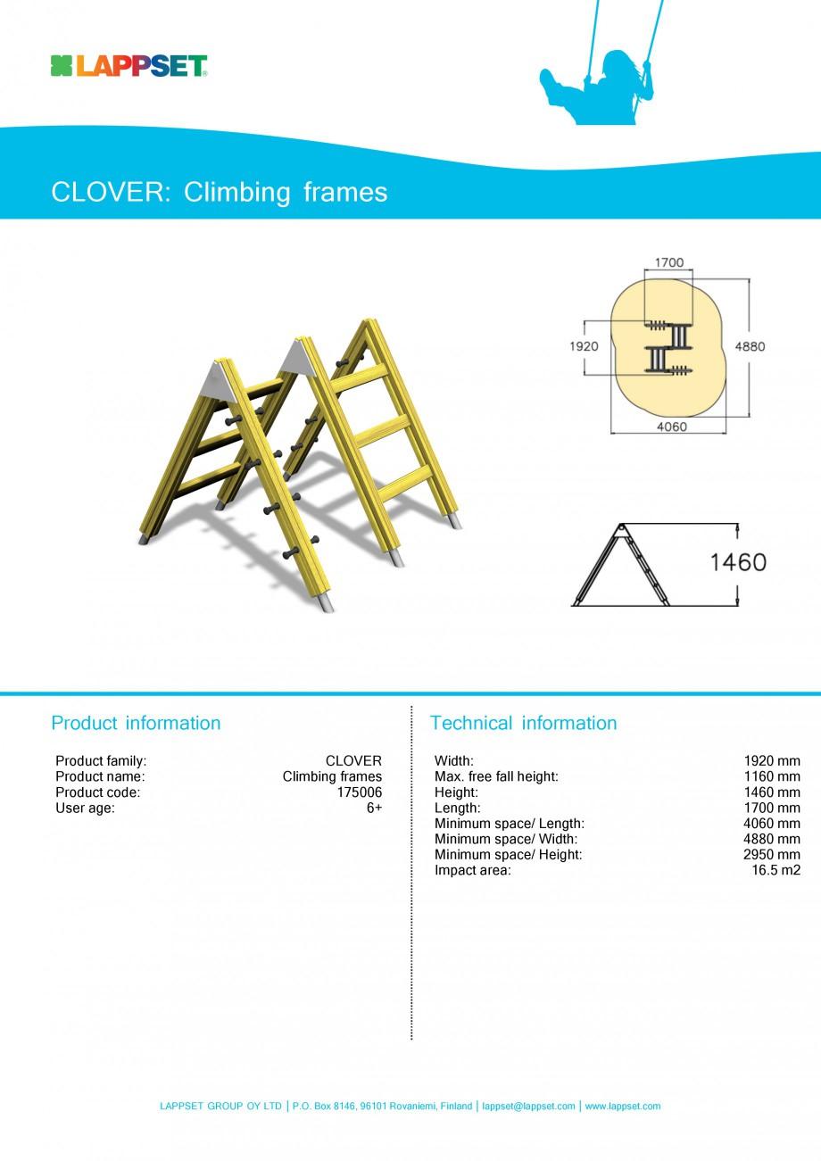 Pagina 1 - Echipament de joaca pentru copii - CLIMBING FRAMES 175006 LAPPSET CLOVER Fisa tehnica...