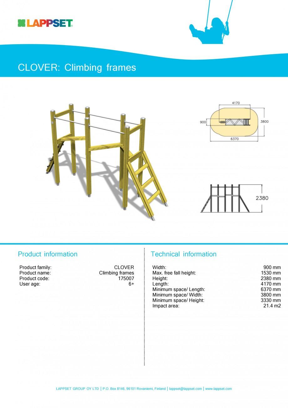Pagina 1 - Echipament de joaca pentru copii - CLIMBING FRAMES 175007 LAPPSET CLOVER Fisa tehnica...