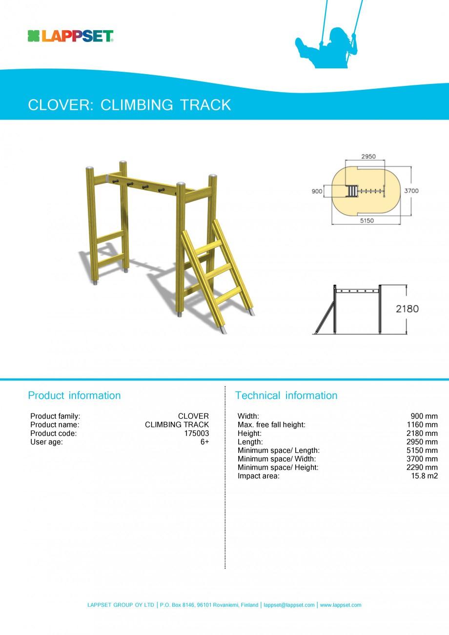 Pagina 1 - Echipament de joaca pentru copii - CLIMBING TRACK 175003 LAPPSET CLOVER Fisa tehnica...