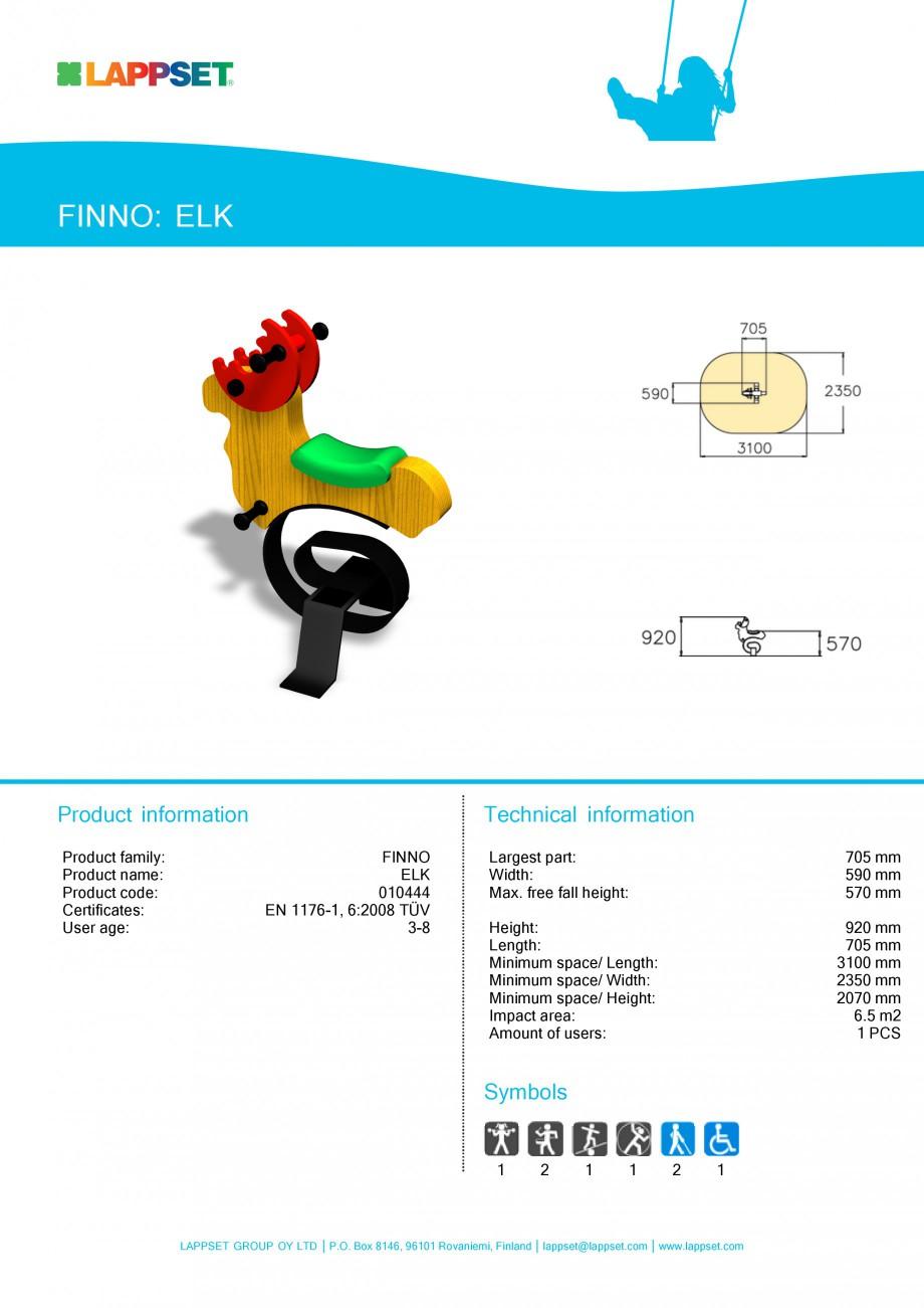 Pagina 1 - Echipament de joaca pentru copii - ELK 010444 LAPPSET CLOVER Fisa tehnica Engleza FINNO: ...
