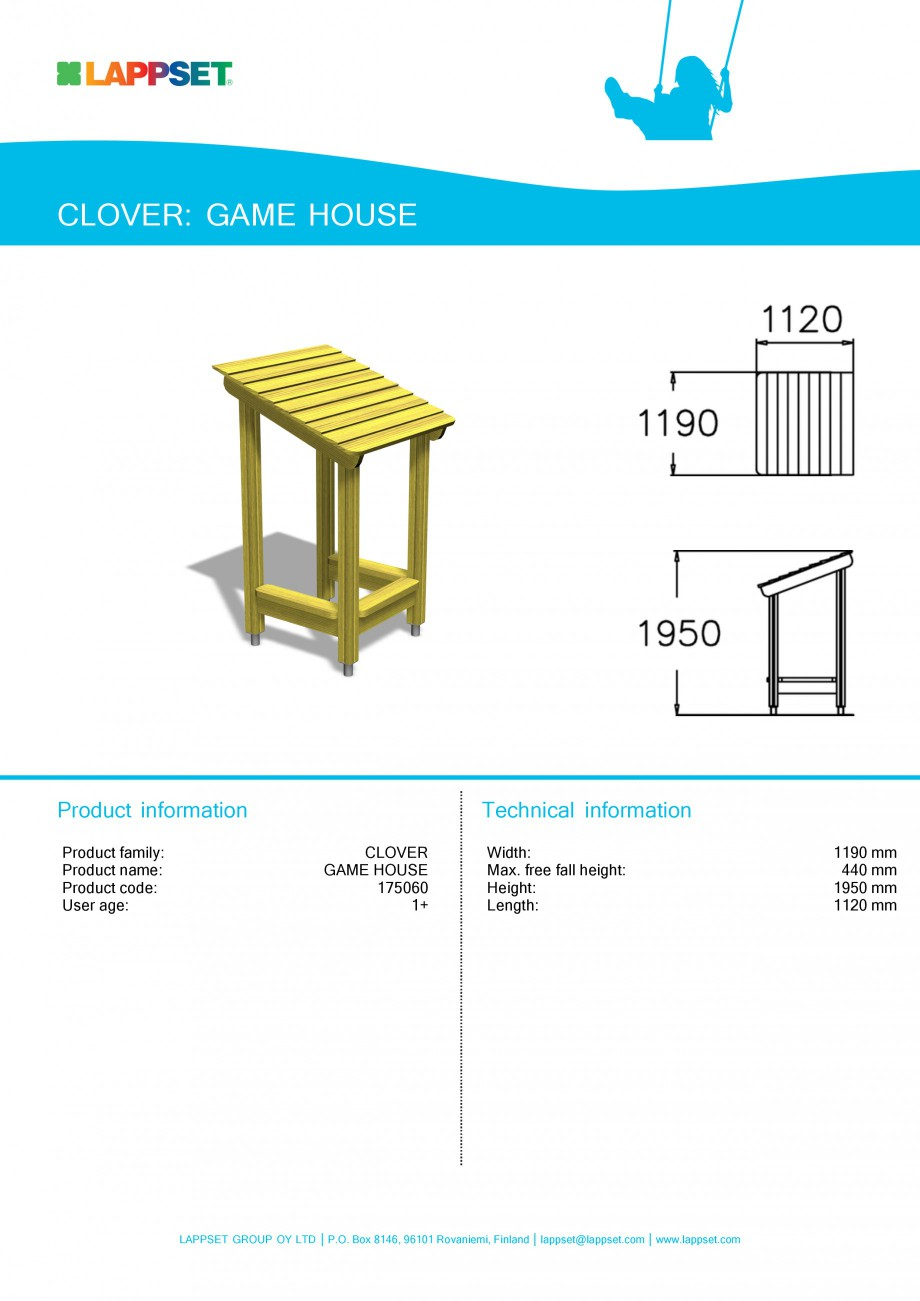 Pagina 1 - Echipament de joaca pentru copii - GAME HOUSE 175060 LAPPSET CLOVER Fisa tehnica Engleza ...