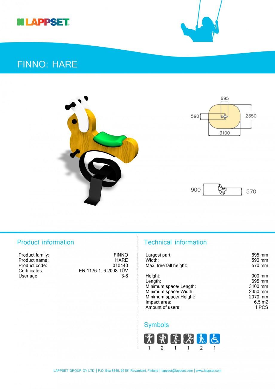 Pagina 1 - Echipament de joaca pentru copii - HARE 010440 LAPPSET CLOVER Fisa tehnica Engleza FINNO:...
