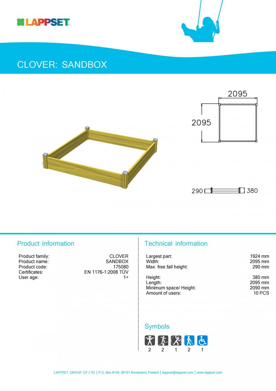 Pagina 1 - Echipament de joaca pentru copii - SANDBOX 175080 LAPPSET CLOVER Fisa tehnica Engleza...