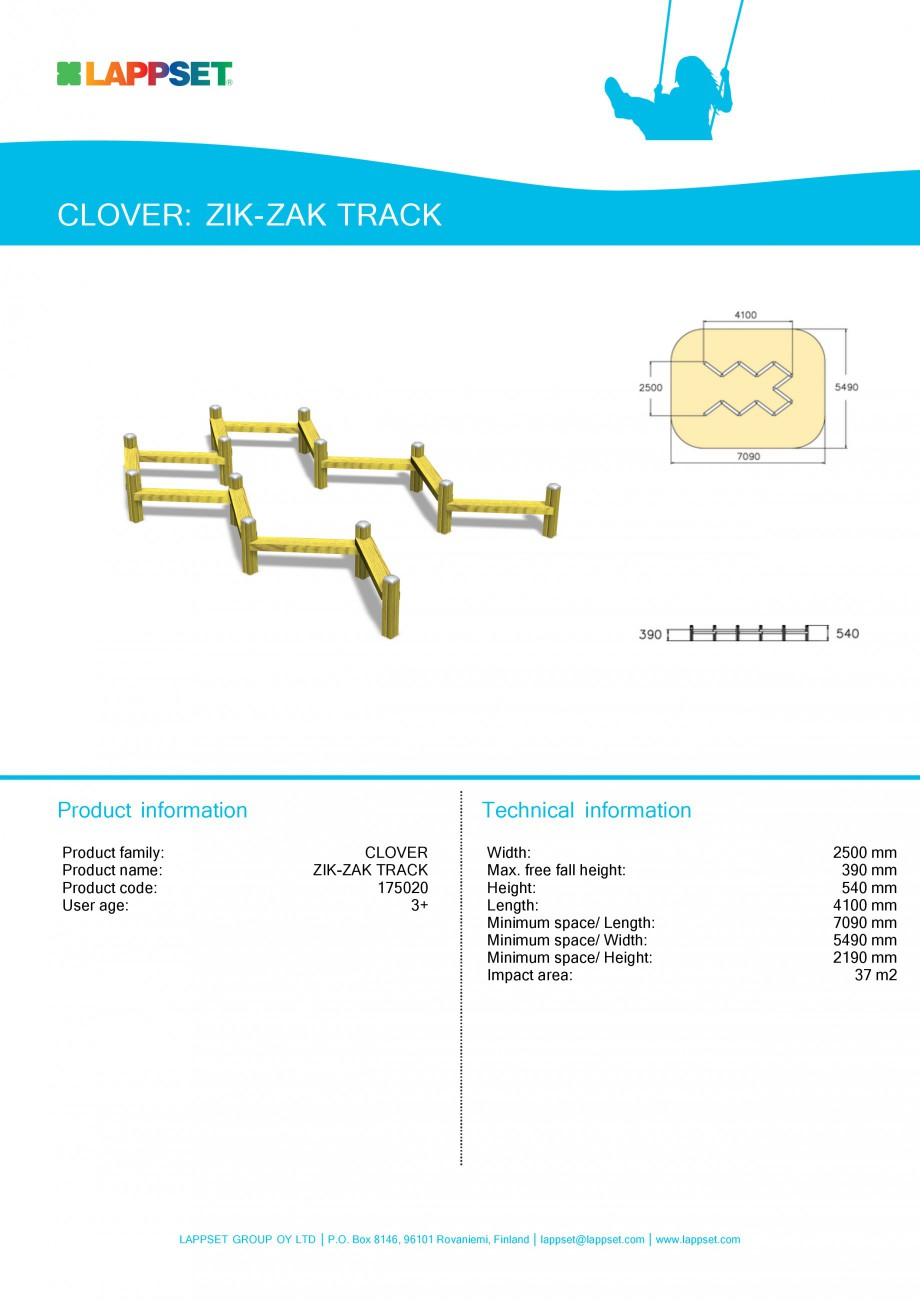 Pagina 1 - Echipament de joaca pentru copii - ZIK-ZAK TRACK 175020 LAPPSET CLOVER Fisa tehnica...