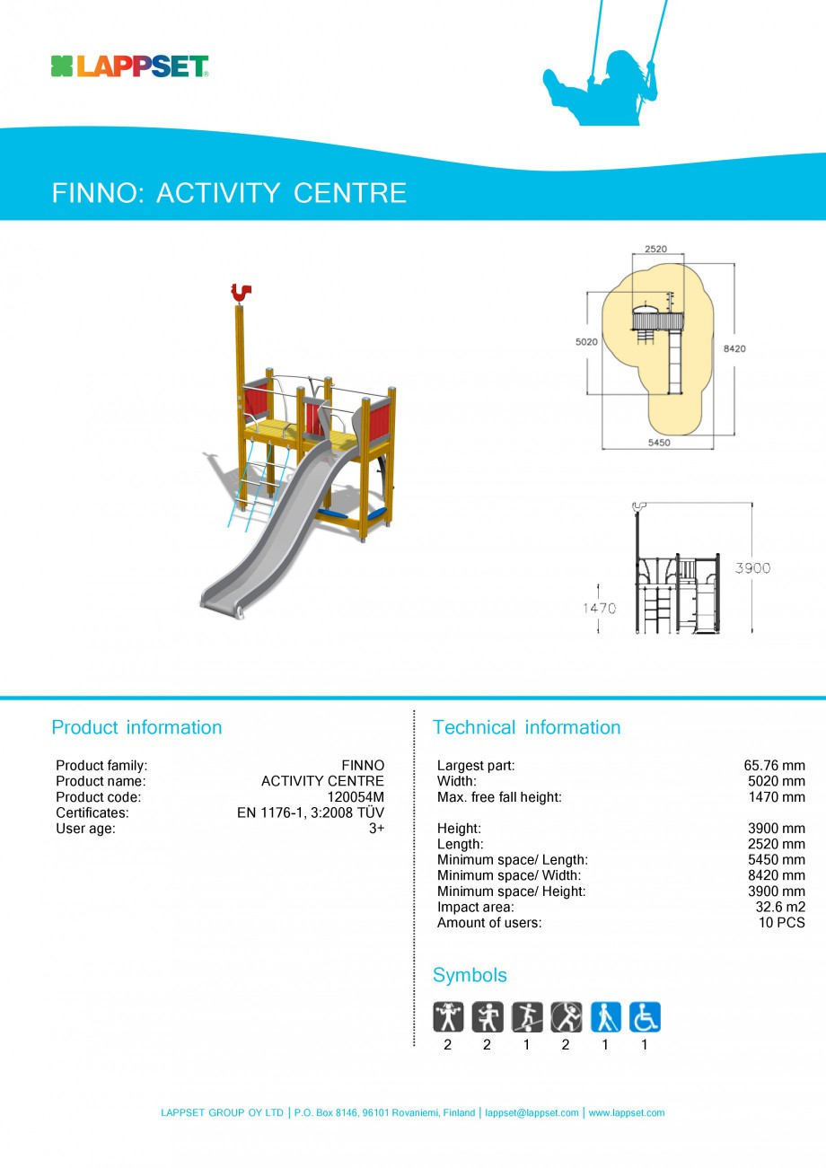 Pagina 1 - Echipament de joaca pentru copii - ACTIVITY CENTRE 120054M LAPPSET NEW FINNO Fisa tehnica...