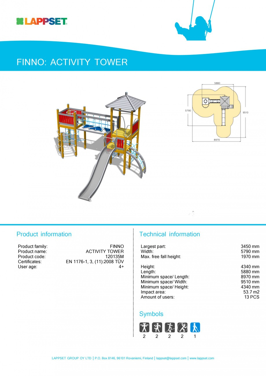 Pagina 1 - Echipament de joaca pentru copii - ACTIVITY TOWER 120135M LAPPSET NEW FINNO Fisa tehnica ...