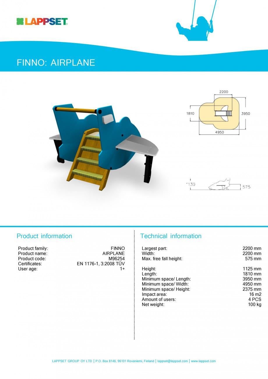 Pagina 1 - Echipament de joaca pentru copii - AIRPLANE M96254 LAPPSET NEW FINNO Fisa tehnica Engleza...