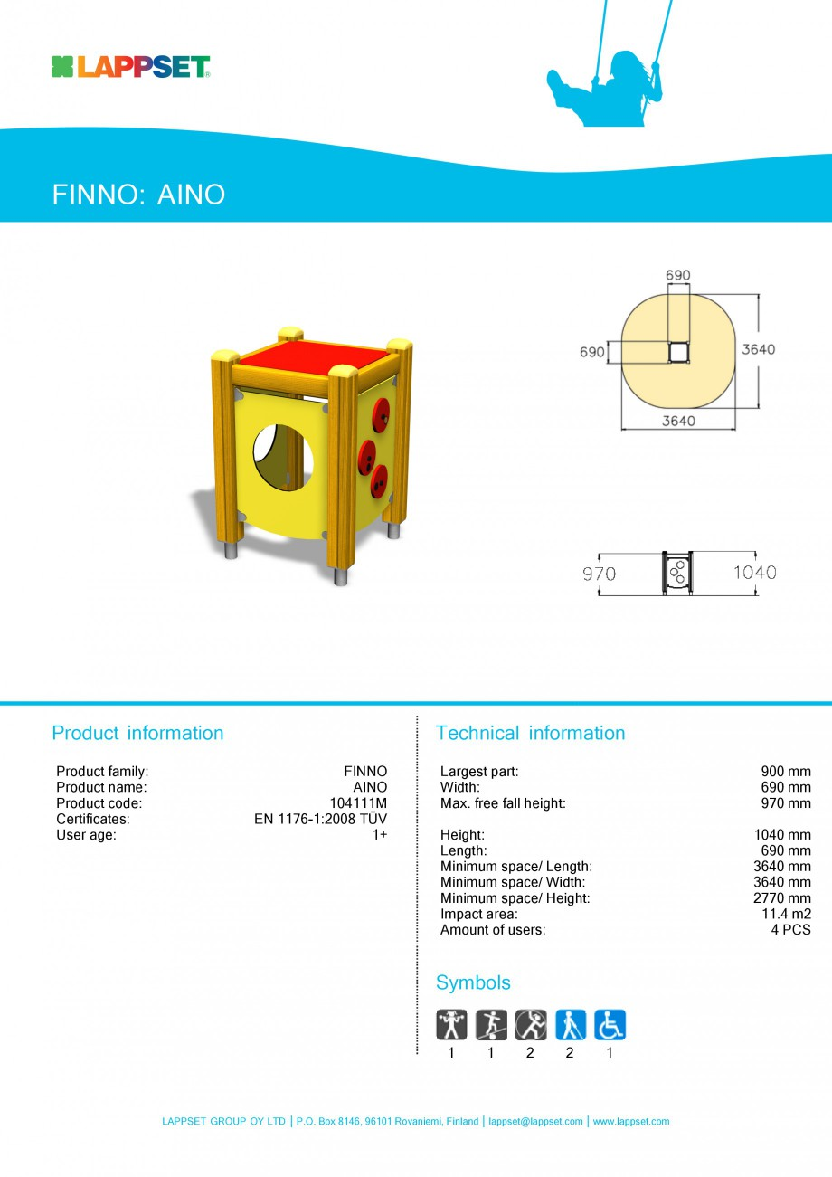 Pagina 10 - Echipamente de joaca din lemn pentru copii foarte mici LAPPSET FINNO ABC Fisa tehnica...