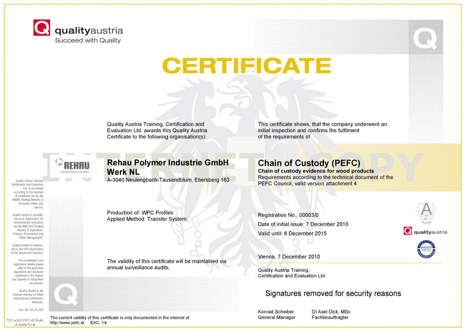 Certificare produs Certificat PEFC RELAZZO Deck, RELAZZO Screen, RELAZZO Rhombus REHAU Decking compozit tip WPC pentru pavaje terase, pardoseli piscine - RELAZZO REHAU POLYMER Quality Austria Training, Certification and  Evaluation Ltd. awards this Quality Austria ... - Pagina 1