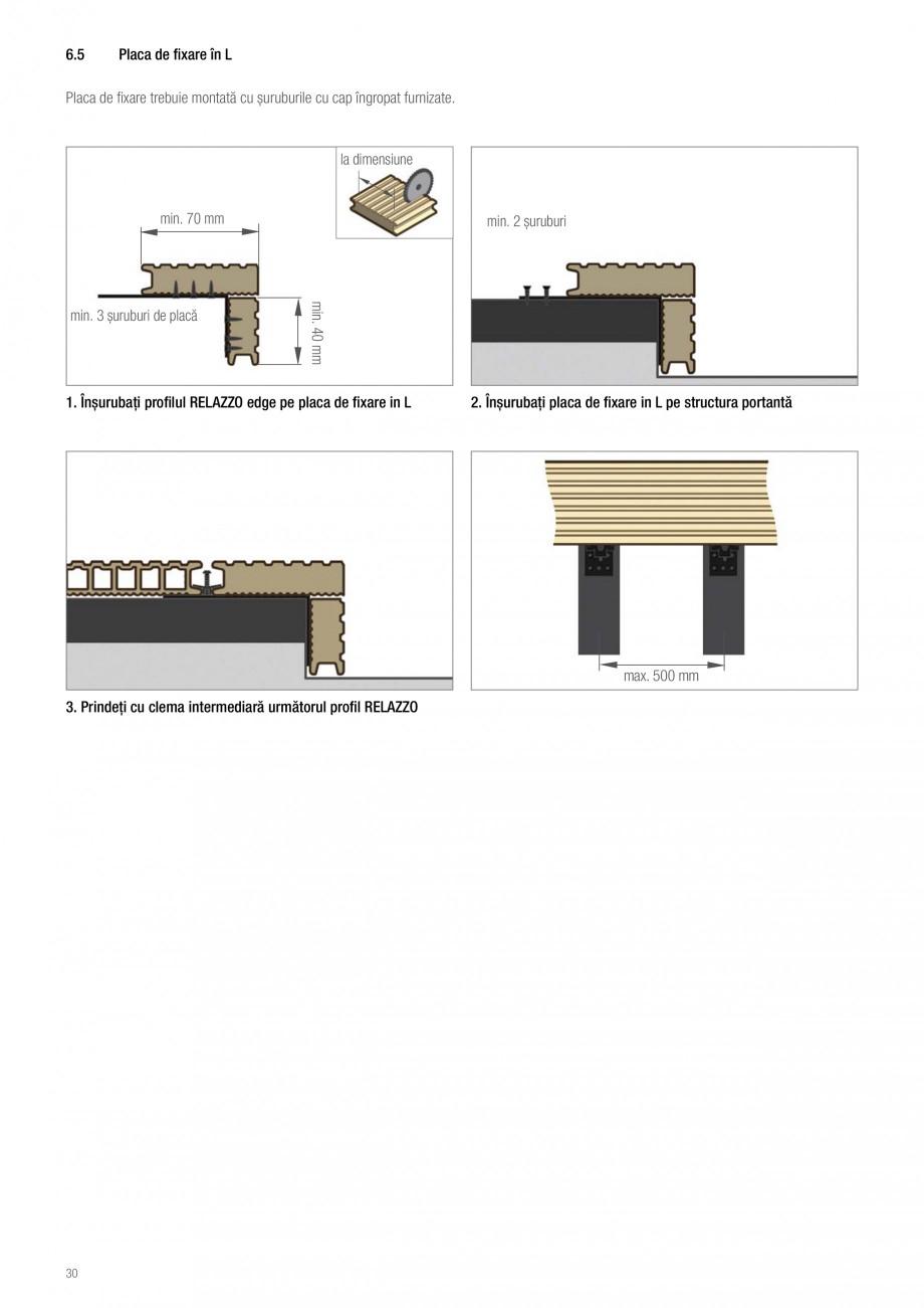 Instructiuni montaj, utilizare Sistemul de pavare terase RELAZZO Deck, RELAZZO Rhombus, RELAZZO Screen REHAU Decking compozit tip WPC pentru pavaje terase, pardoseli piscine - RELAZZO REHAU POLYMER iv Freză 2 mm  Inchidere cu profilul masiv Edge Suport de montare L  Placa de montare  Aveţi in... - Pagina 3