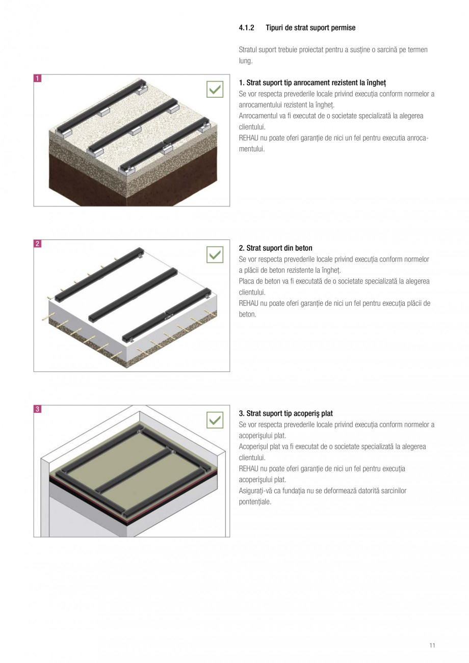 Instructiuni montaj, utilizare Sistemul de pavare terase RELAZZO Deck, RELAZZO Rhombus, RELAZZO Screen REHAU Decking compozit tip WPC pentru pavaje terase, pardoseli piscine - RELAZZO REHAU POLYMER   4  Proiectare și montaj  Asamblare generală --Strat suport --Nivelare --Profile structură... - Pagina 12
