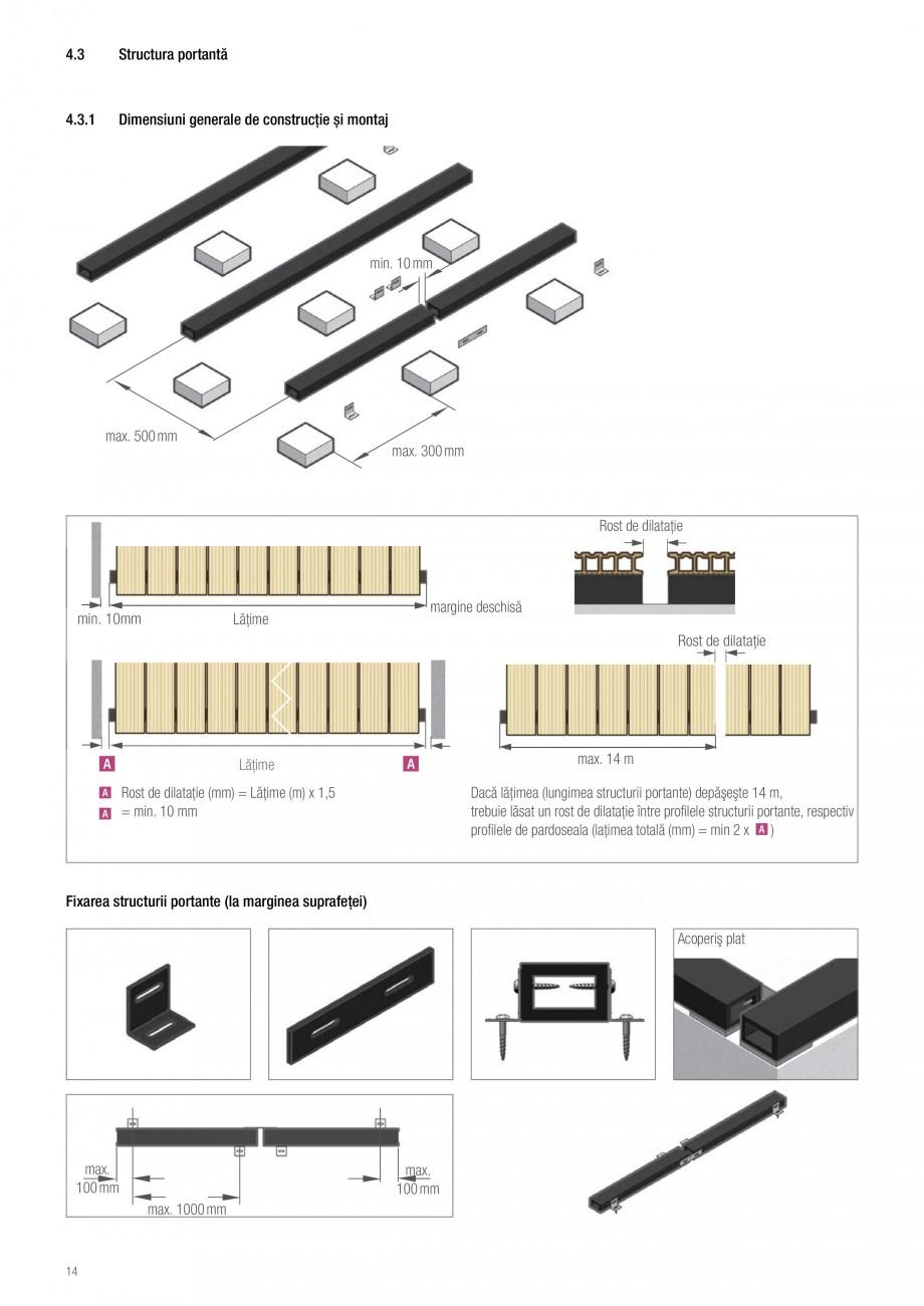 Instructiuni montaj, utilizare Sistemul de pavare terase RELAZZO Deck, RELAZZO Rhombus, RELAZZO Screen REHAU Decking compozit tip WPC pentru pavaje terase, pardoseli piscine - RELAZZO REHAU POLYMER rele reglabile şi le fixați cu un şurub --Picior reglabil: 50 - 90 mm înalţime reglabilă... - Pagina 15