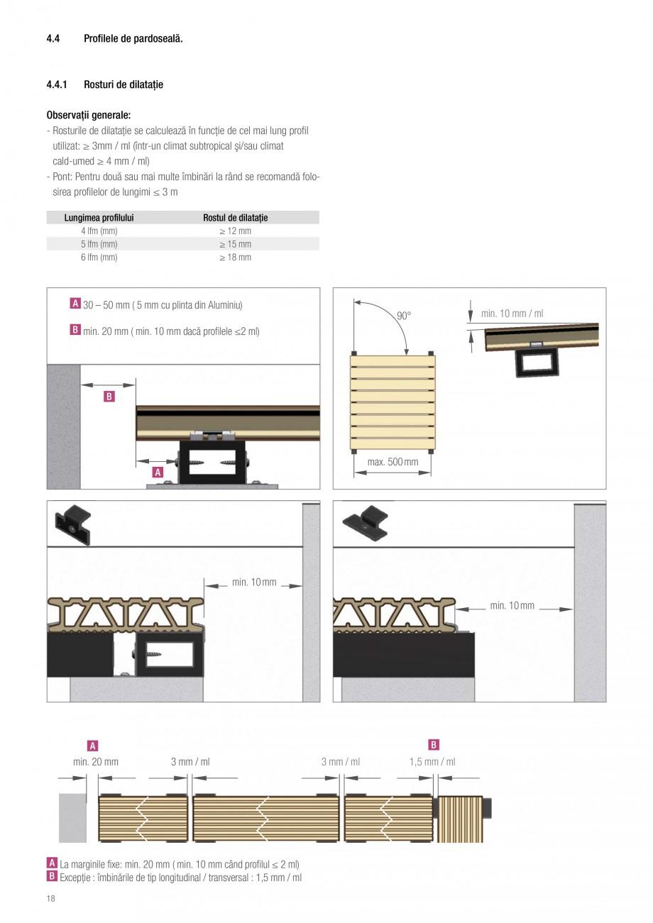Instructiuni montaj, utilizare Sistemul de pavare terase RELAZZO Deck, RELAZZO Rhombus, RELAZZO Screen REHAU Decking compozit tip WPC pentru pavaje terase, pardoseli piscine - RELAZZO REHAU POLYMER fm (mm) 6 lfm (mm)  Rostul de dilataţie ≥ 12 mm ≥ 15 mm ≥ 18 mm  30 – 50 mm ( 5 mm cu... - Pagina 19