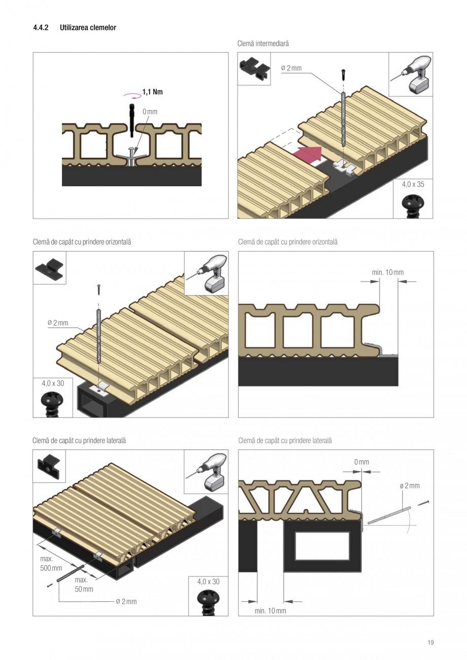 Instructiuni montaj, utilizare Sistemul de pavare terase RELAZZO Deck, RELAZZO Rhombus, RELAZZO Screen REHAU Decking compozit tip WPC pentru pavaje terase, pardoseli piscine - RELAZZO REHAU POLYMER rofilului următor. Şuruburile sunt strânse complet ulterior . 1  1  1  1  1  Puteţi urmări... - Pagina 20