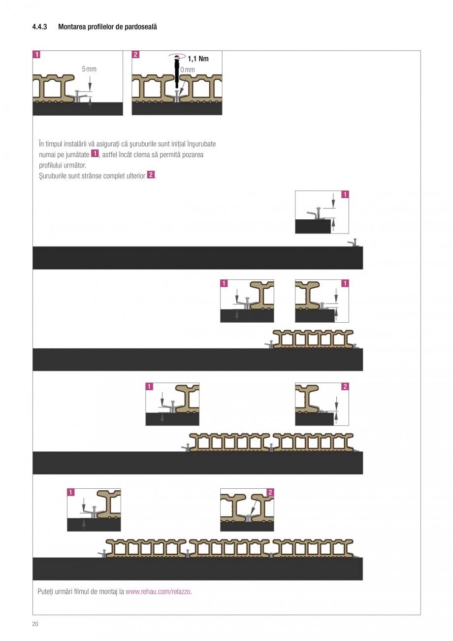 Instructiuni montaj, utilizare Sistemul de pavare terase RELAZZO Deck, RELAZZO Rhombus, RELAZZO Screen REHAU Decking compozit tip WPC pentru pavaje terase, pardoseli piscine - RELAZZO REHAU POLYMER LAZZO la dimensiunea necesară Dimensiunea de tăiat = Lungimea – 147 mm pentru fiecare placă... - Pagina 21