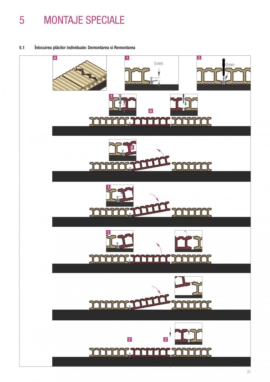 Instructiuni montaj, utilizare Sistemul de pavare terase RELAZZO Deck, RELAZZO Rhombus, RELAZZO Screen REHAU Decking compozit tip WPC pentru pavaje terase, pardoseli piscine - RELAZZO REHAU POLYMER în L pe structura portantă iar apoi pozați clema intermediară min. 2 șuruburi 5 4  3 2  min. 3 ... - Pagina 22
