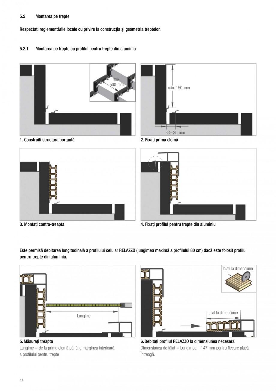 Instructiuni montaj, utilizare Sistemul de pavare terase RELAZZO Deck, RELAZZO Rhombus, RELAZZO Screen REHAU Decking compozit tip WPC pentru pavaje terase, pardoseli piscine - RELAZZO REHAU POLYMER btul structurii portante trebue mărită la un minim de 100 mm. În special în acest caz, este... - Pagina 23