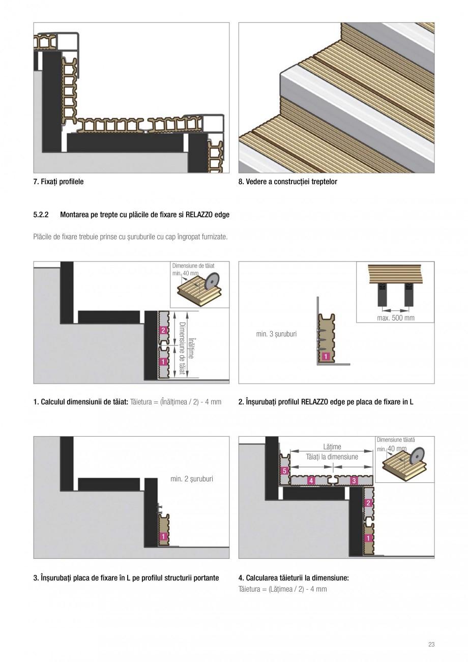 Instructiuni montaj, utilizare Sistemul de pavare terase RELAZZO Deck, RELAZZO Rhombus, RELAZZO Screen REHAU Decking compozit tip WPC pentru pavaje terase, pardoseli piscine - RELAZZO REHAU POLYMER nșurubați placa de fixare pe profilul RELAZZO edge  2. Înșurubați placa de fixare pe structura ... - Pagina 24