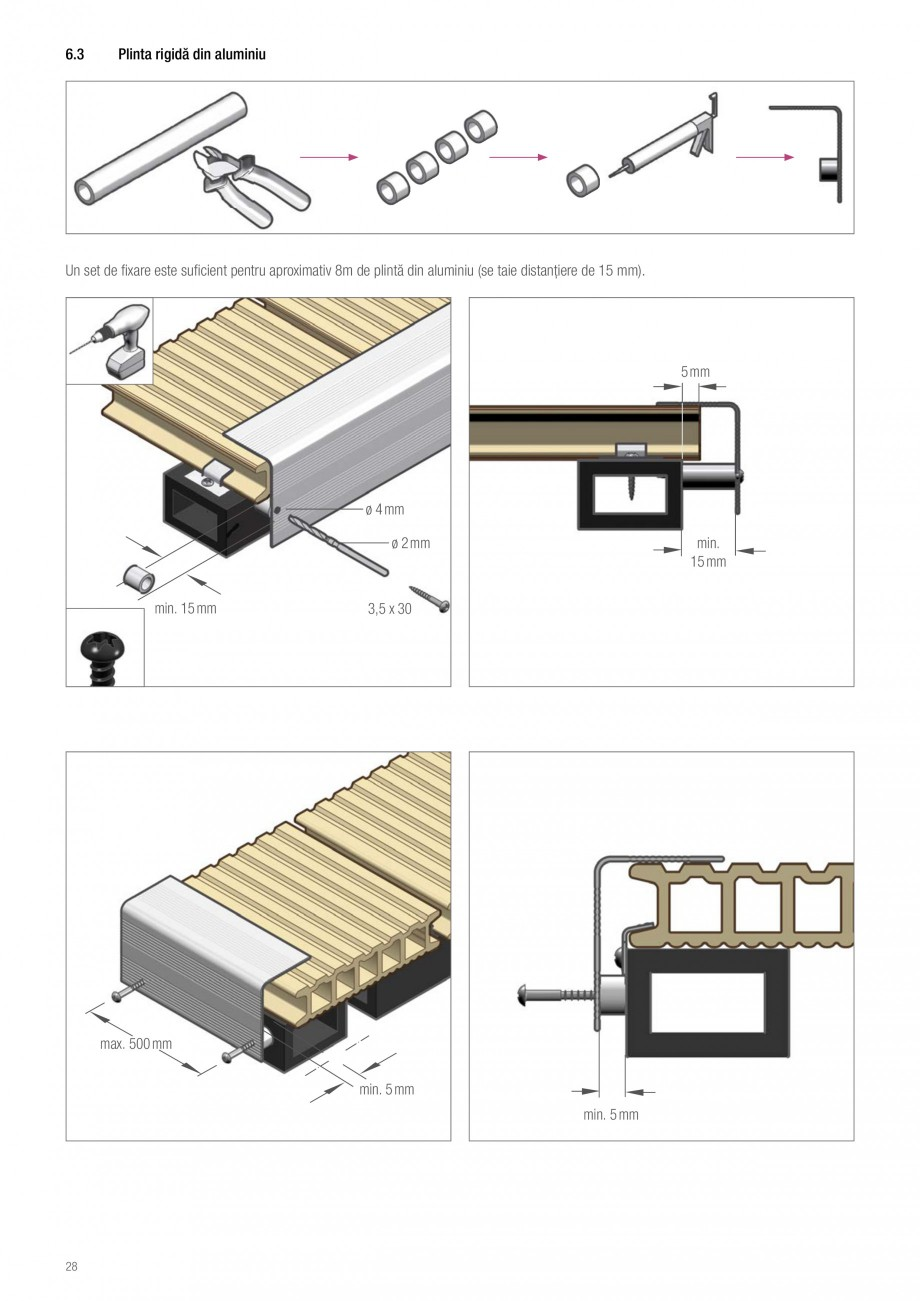 Instructiuni montaj, utilizare Sistemul de pavare terase RELAZZO Deck, RELAZZO Rhombus, RELAZZO Screen REHAU Decking compozit tip WPC pentru pavaje terase, pardoseli piscine - RELAZZO REHAU POLYMER  - Pagina 29