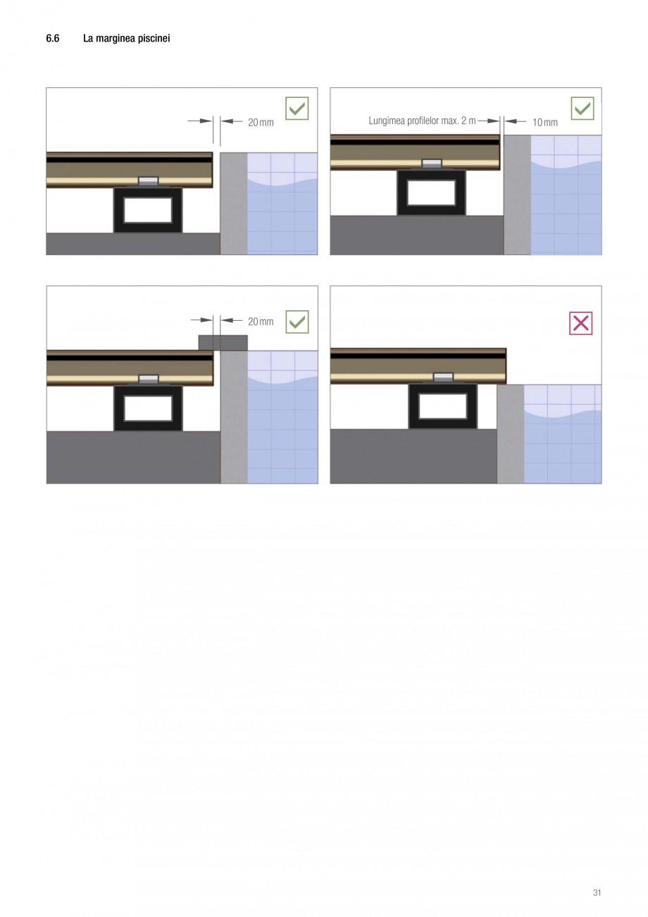 Instructiuni montaj, utilizare Sistemul de pavare terase RELAZZO Deck, RELAZZO Rhombus, RELAZZO Screen REHAU Decking compozit tip WPC pentru pavaje terase, pardoseli piscine - RELAZZO REHAU POLYMER  - Pagina 31