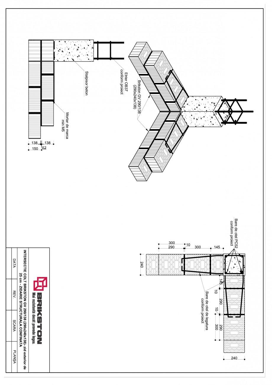Pagina 1 - CAD-PDF Intersectie colt - zid exterior de 25 cm BRIKSTON Detaliu de montaj GV 290/138