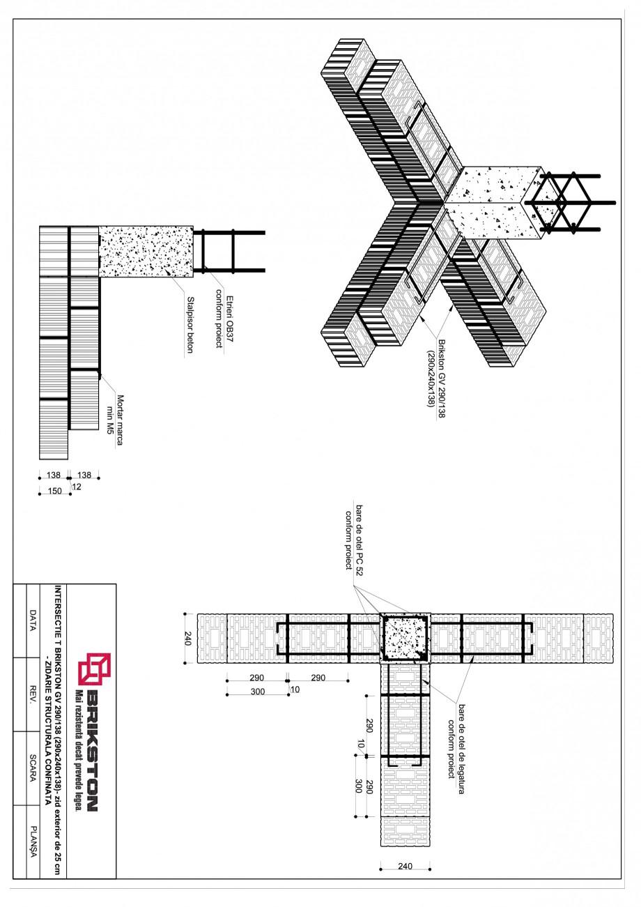 Pagina 1 - CAD-PDF Intersectie T - zid exterior de 25 cm cu zid interior de 25 cm BRIKSTON Detaliu...