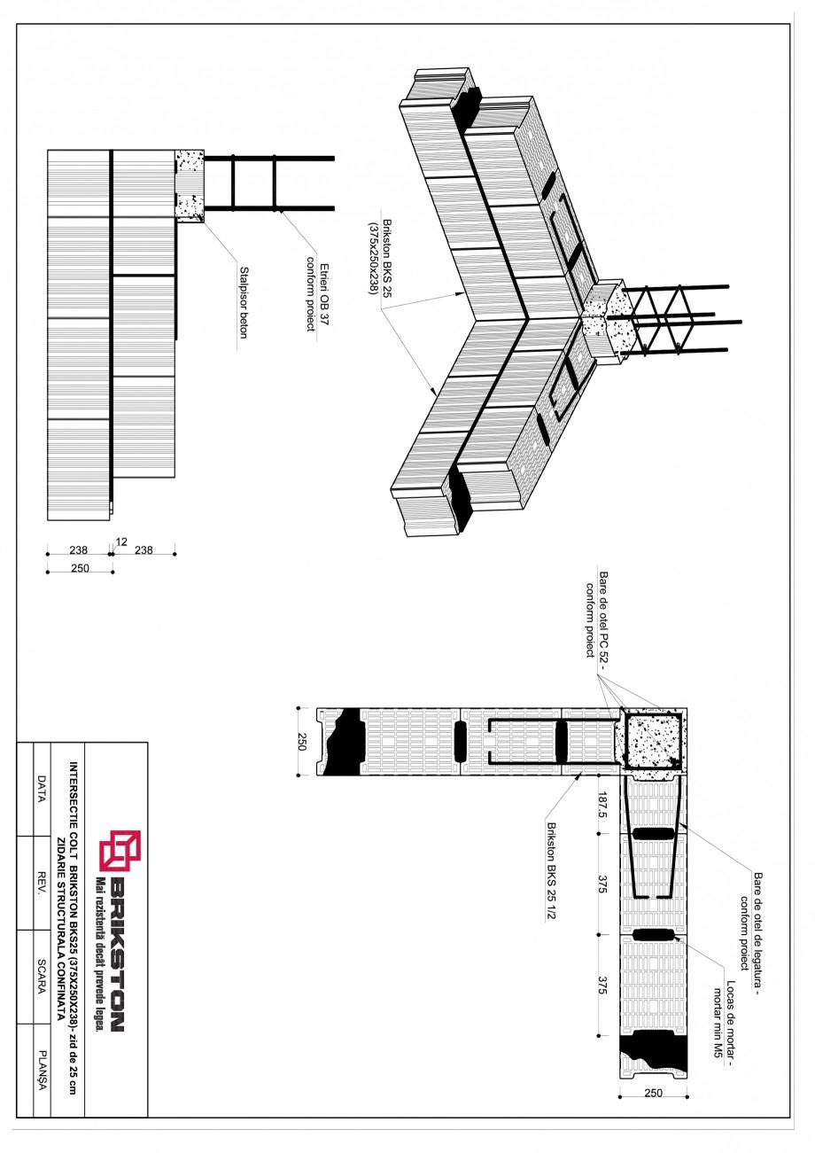 Pagina 1 - CAD-PDF Intersectie colt - zid de 25 cm BRIKSTON Detaliu de montaj BKS 25