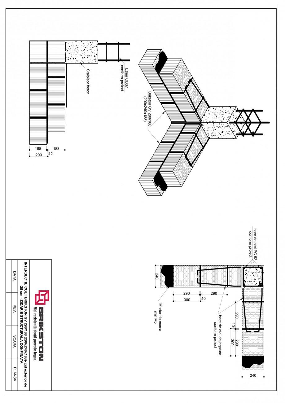 Pagina 1 - CAD-PDF Intersectie colt - zid exterior de 25 cm BRIKSTON Detaliu de montaj GV 290/188