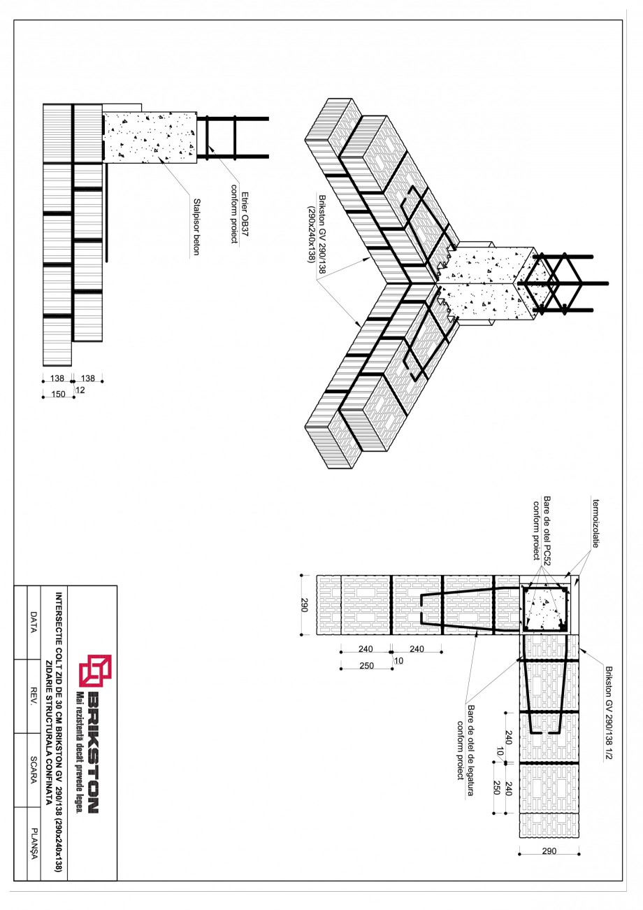 Pagina 1 - CAD-PDF Intersectie colt - zid de 30 cm BRIKSTON Detaliu de montaj GV 290/138
