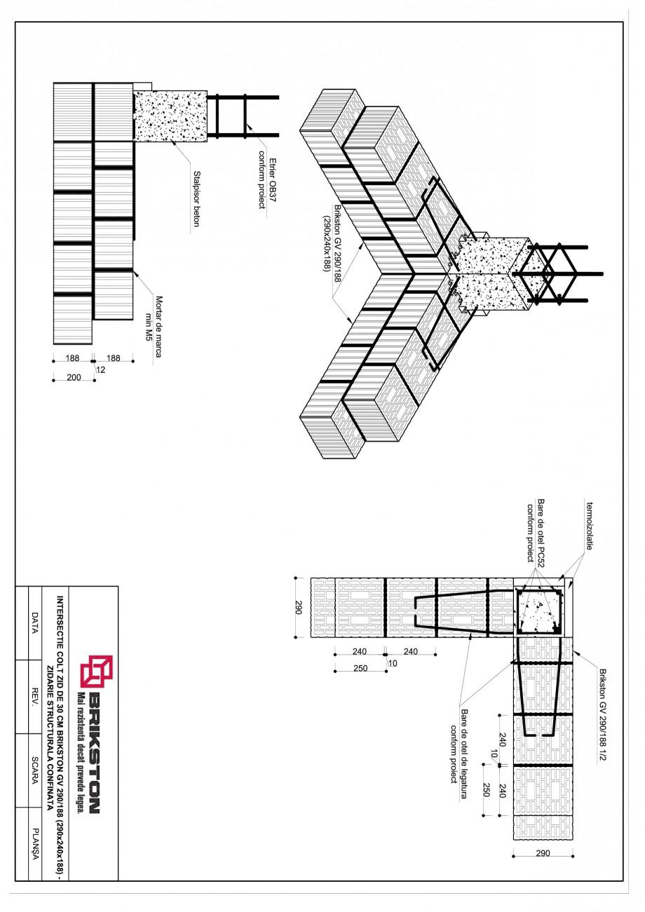 Pagina 1 - CAD-PDF Intersectie colt - zid de 30 cm BRIKSTON Detaliu de montaj GV 290/188