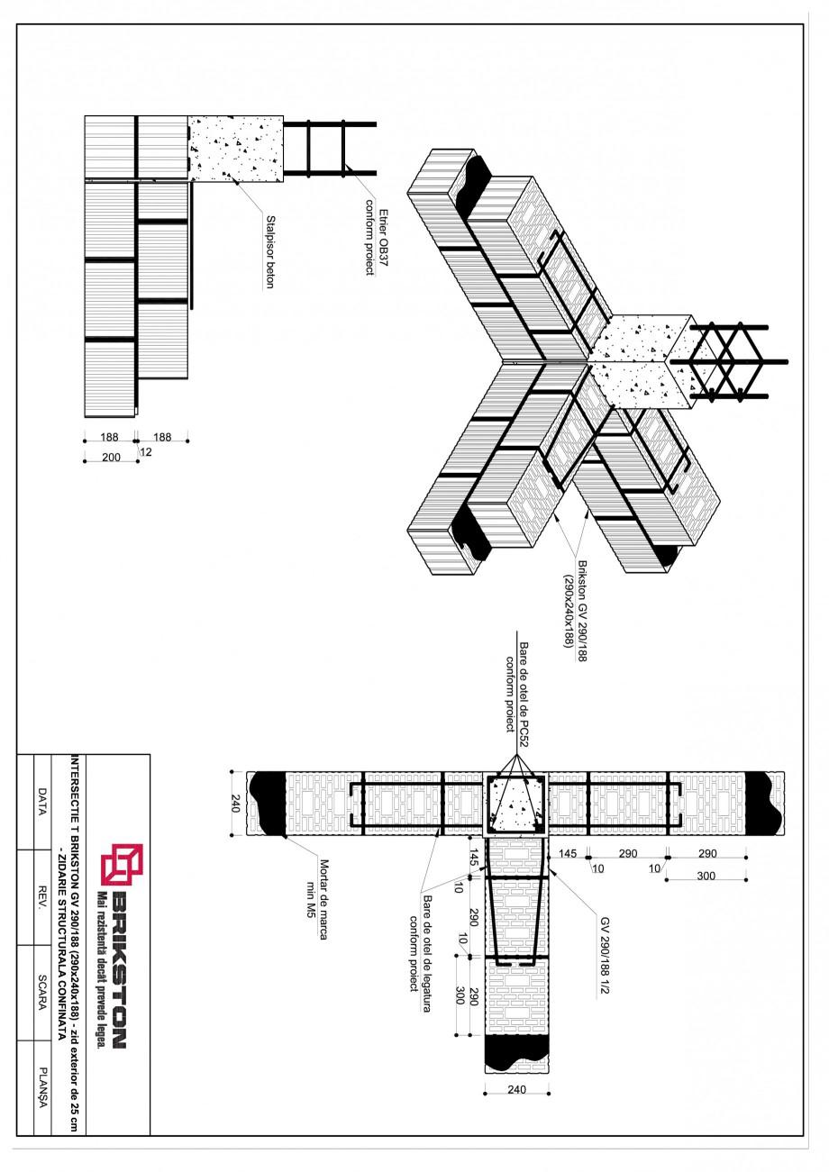 Pagina 1 - CAD-PDF Intersectie T - zid exterior de 25 cm BRIKSTON Detaliu de montaj GV 290/188