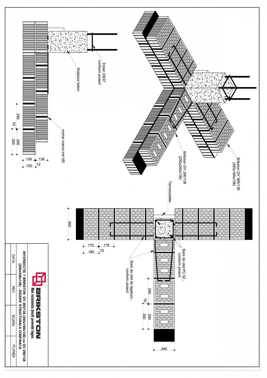 Pagina 1 - CAD-PDF Intersectie T BRIKSTON Detaliu de montaj GV 365/138, GV 290/138