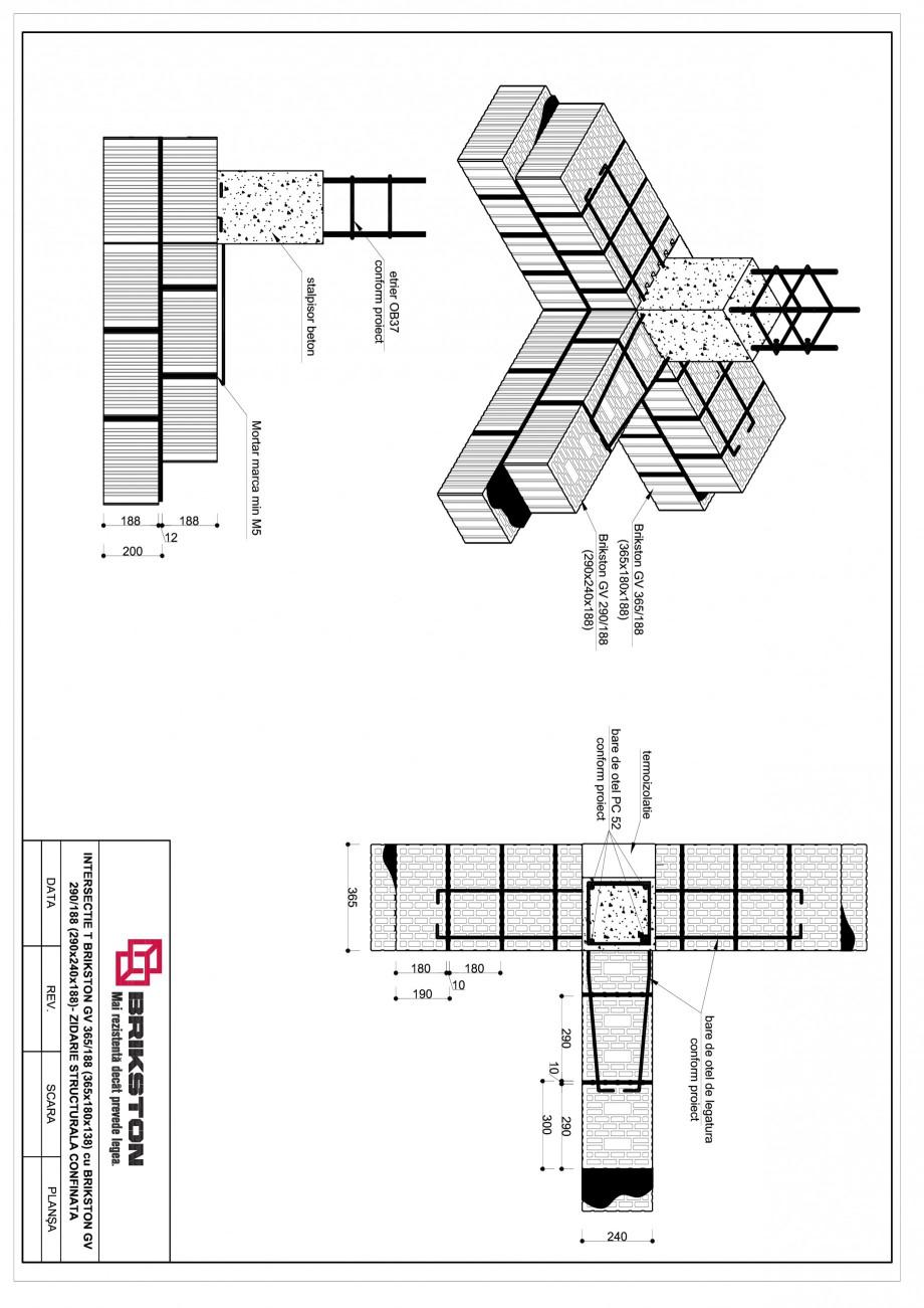 Pagina 1 - CAD-PDF Intersectie T BRIKSTON Detaliu de montaj GV 365/188, GV 290/188