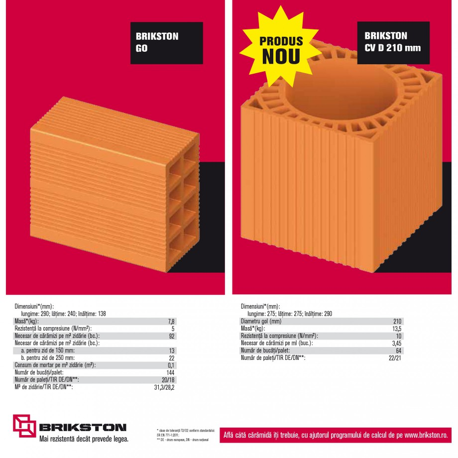 Pagina 14 - Blocuri ceramice pentru zidarie BRIKSTON CV D 170, CV D 210, CV D170/290, GO, CF 63...