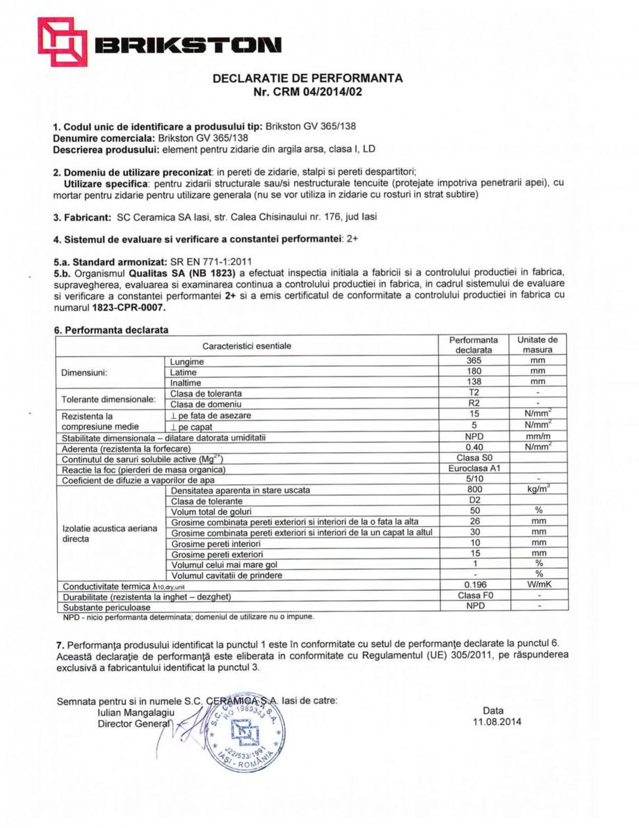 Pagina 1 - Declaratie de performanta BRIKSTON GV 365/138 Fisa tehnica Romana