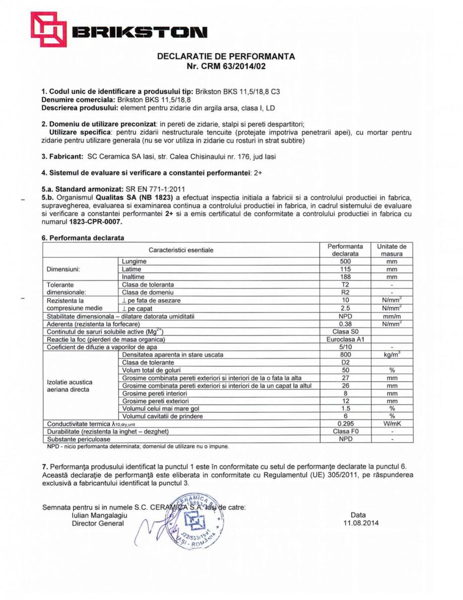 Pagina 1 - Declaratie de performanta BRIKSTON BKS 11.5/18.8 Fisa tehnica Romana