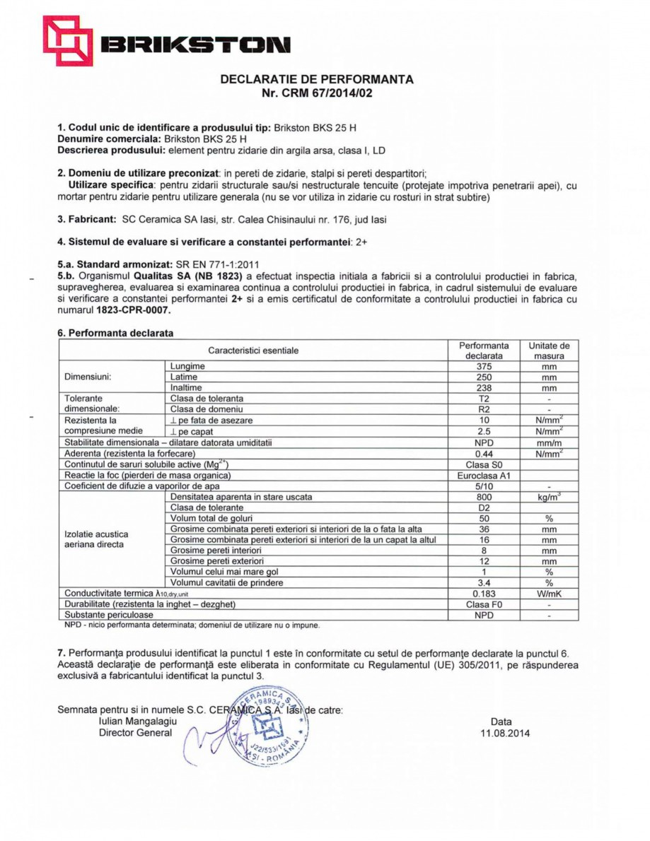 Pagina 1 - Declaratie de performanta BRIKSTON BKS 25 H Fisa tehnica Romana