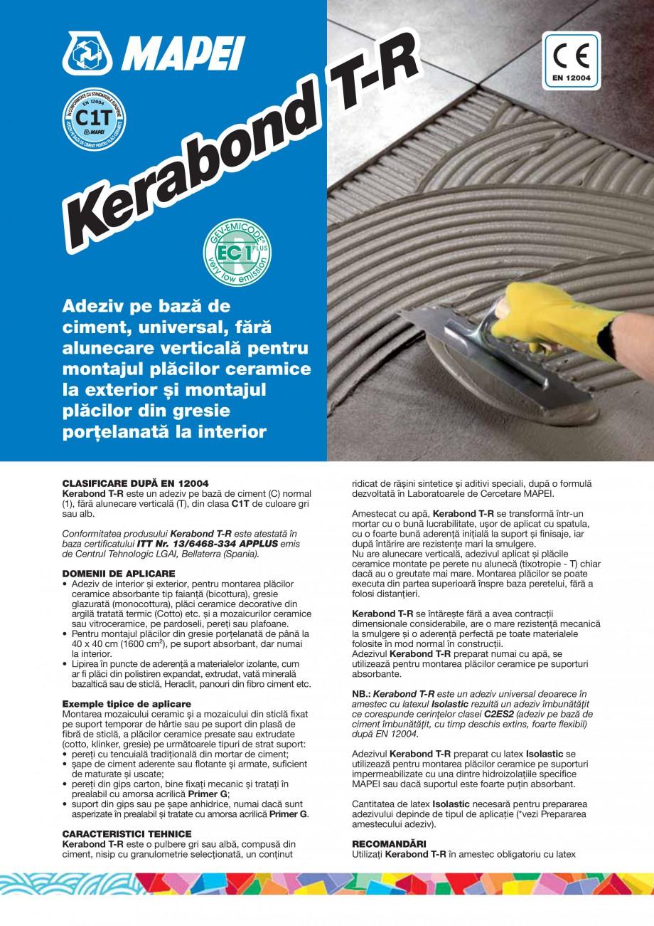 Pagina 1 - Adeziv pe baza de ciment pentru placi ceramice MAPEI KERABOND T-R Fisa tehnica Romana EN ...